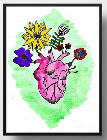 Quadro decorativo Coração florido