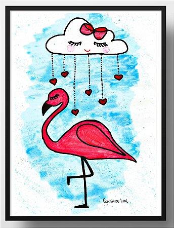 Quadro decorativo Flamingo e nuvem
