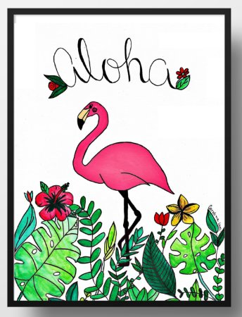 Quadro decorativo Flamingo tropical