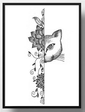 Quadro decorativo Gato Pontilhado