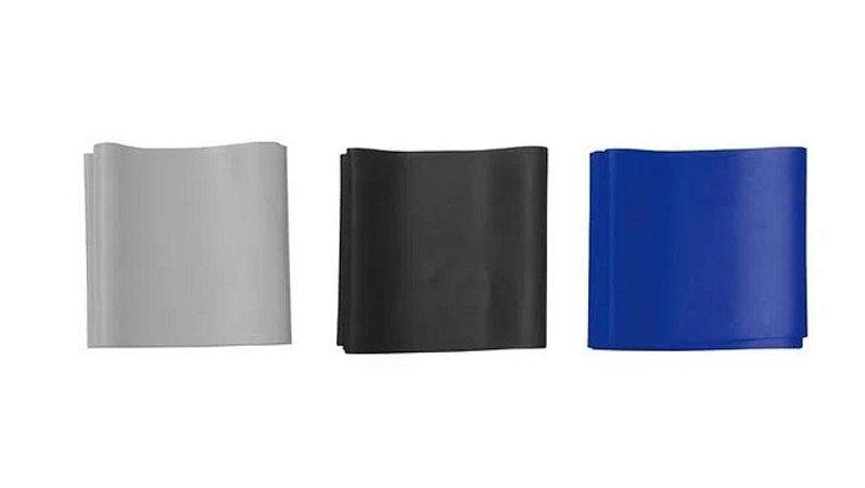 Kit Faixas Elásticas Ultra Band - Cinza (Média), Preta (Forte) e Azul Escuro (Ultra Forte) (3 Unid.)