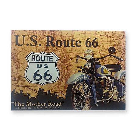 Placa Decorativa em MDF - U.S. Route 66 - 18x23 cm
