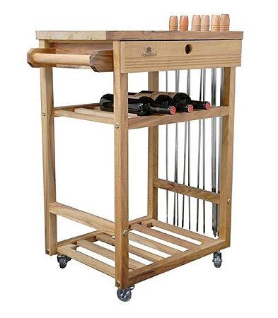 Carrinho Auxiliar para churrasco em madeira artesanal