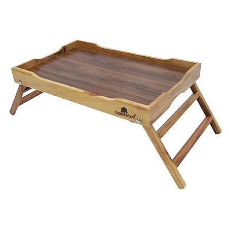 Bandeja café da manhã em madeira