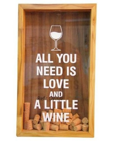 Quadro decorativo Porta rolhas (All you need is love and little wine)