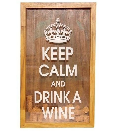 "Quadro decorativo Porta rolha (""Keep calm and drink a wine"")"
