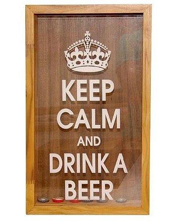 """Quadro decorativo Porta tampas de garrafas (""""Keep calm and drink a beer"""")"""