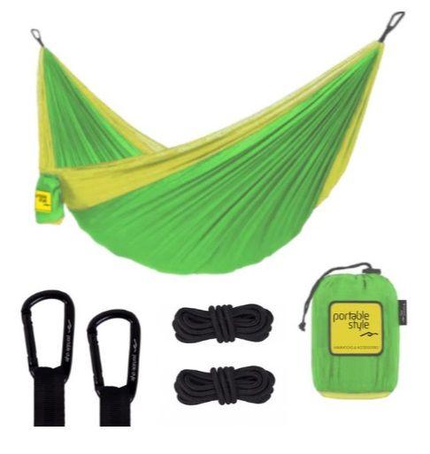 Rede de Camping Portátil c/ corda + Carabiners - Verde limão e Amarelo