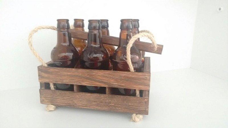 Caixa de madeira para 6 garrafas de 300ml  (Tipo engradado)