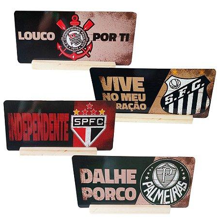 Placa Decorativa / Times De Futebol - 13x28cm + Suporte (Times paulistas)