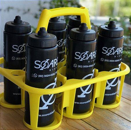 Cesta com 6 unid. Squeeze Caramanhola Tipo Gatorade 800 ml Livre de BPA Ref.156