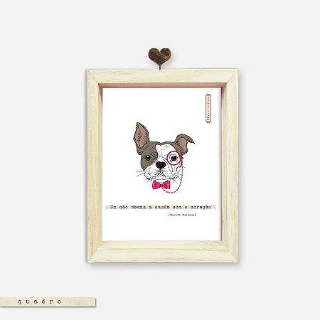 Quadro Caixa Pinus - Um Cão Abana o Rabo Com o Coração