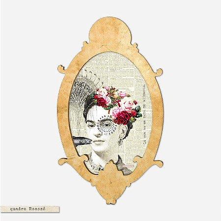 Quadro Oval Rococó - Lo que no me mata me alimenta - Frida Kahlo