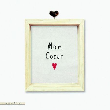 Quadro Caixa Bordado - Mon Coeur