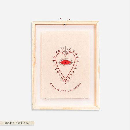 Quadro Moldura Acrilico Duplo Bordado - Coração