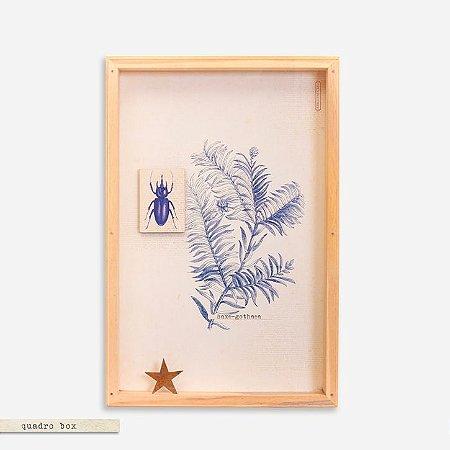 Quadro Box Colagem Botânica Azul  - Escaravelho