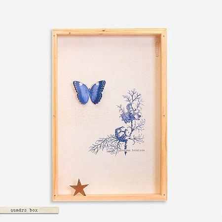 Quadro Box Colagem Botânica Azul  - Borboleta