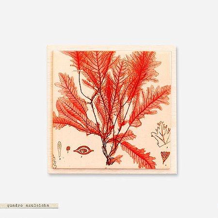 Quadro Azuleicha Botânica - Folhas Rosadas