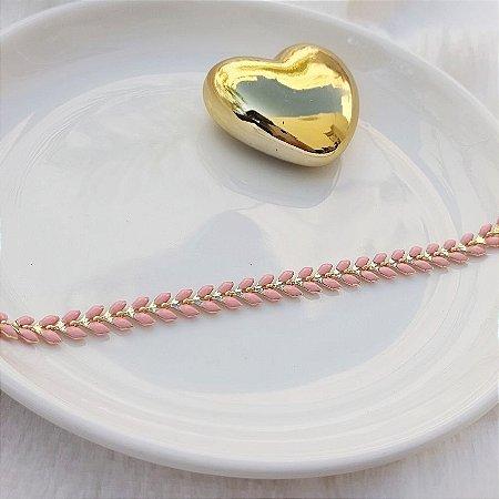 Pulseira Arrow Rosa - Banho de Ouro 18k