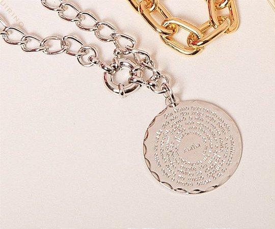 Colar Correntaria Medalha Pai Nosso