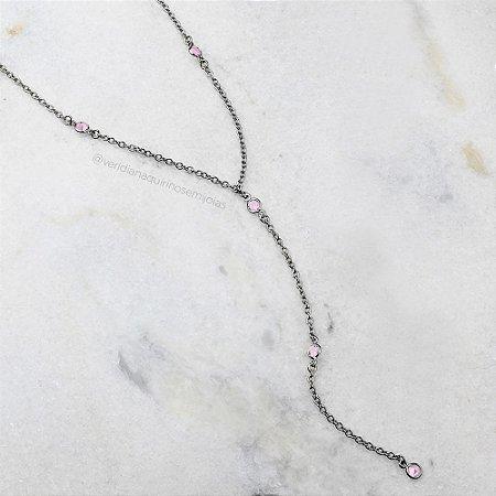 Colar gravatinha cristal Rosa