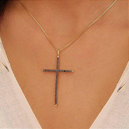 Colar com Crucifixo Cravejado de Zircônias Black