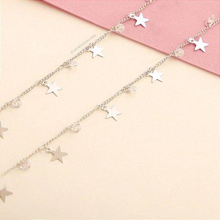 Choker Penduricalhos Zircônia e Estrelas