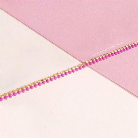 Colar Choker de Penduricalhos Rosa Pink