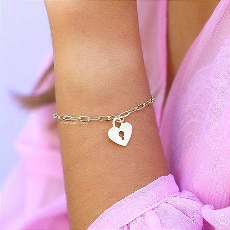 Pulseira Cadeado Coração