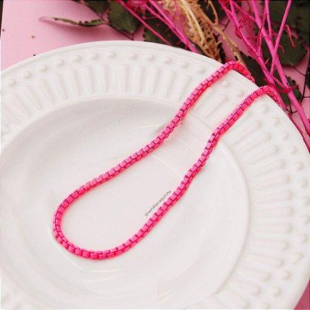 Corrente Malha Color - Rosa Neon