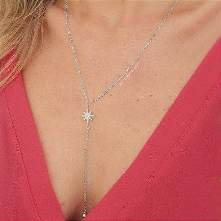 Colar Gravatinha da Coleção Ilumine-se com Estrela Cravejada