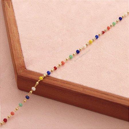 Colar mini cristais coloridos