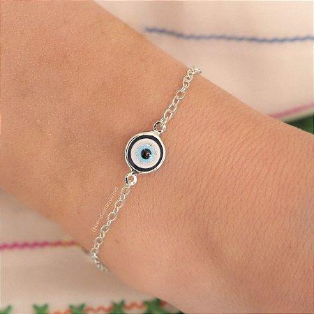 Pulseira de olho grego - Banho de Ródio Branco