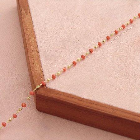 Colar mini cristais laranja