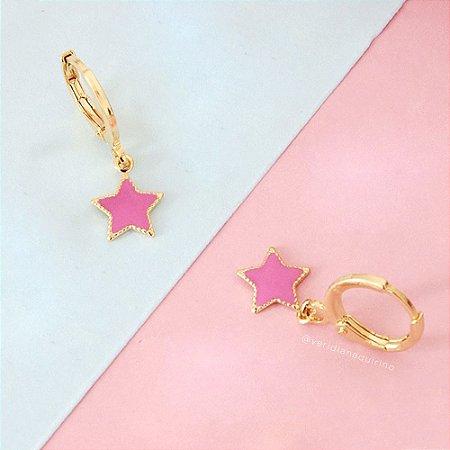 Argolinha Infantil de Estrela Rosa Neon
