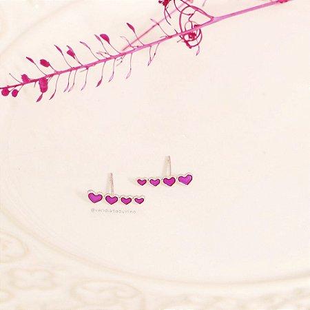 Brinco Ear Cuff de Coração Rosa