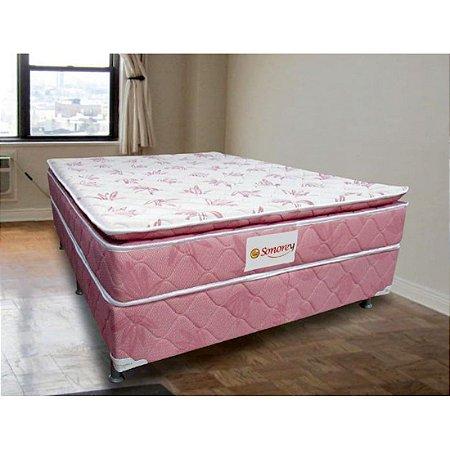 Conjunto Colchão Box Mola c/ Pillow Sonorey Cunha D-26 Mola Rosa Estampado [128362188138111]