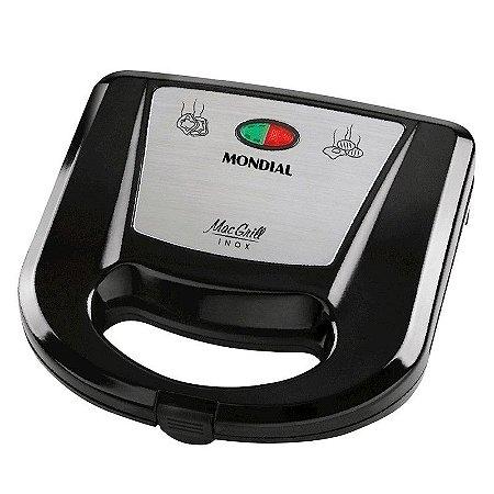 Grill e Sanduicheira Mondial Mac Grill Inox Revestimento Antiaderente Lâmpadas-Piloto 127 Volts Preto/Inox [S-11 PT INOX]