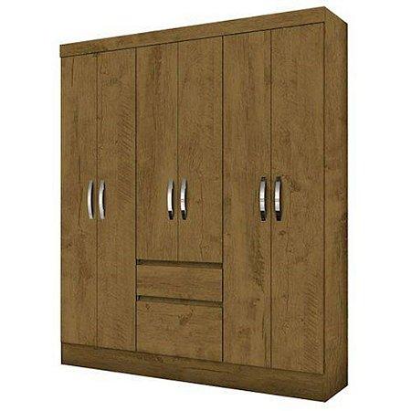 Guarda-roupas Casal 6 Portas 2 Gavetas Cuba Castanho Wood Moval
