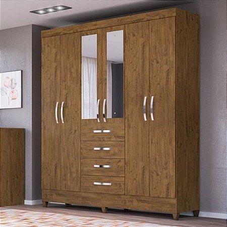Guarda-roupas Casal Avaí 6 Portas e Espelho Castanho Wood - Moval