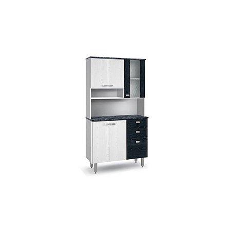 Kit de Cozinha Batrol Inovare 6 Portas 2 Gavetas em MDP e Vidro Branco/Preto [702113 BR PT]