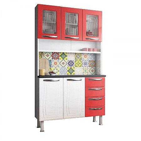 Kit de Cozinha Colormaq Ipanema Colours 5 Portas 4 Gavetas em Aço e Vidro Branco/Vermelho [23740241 BR VM]