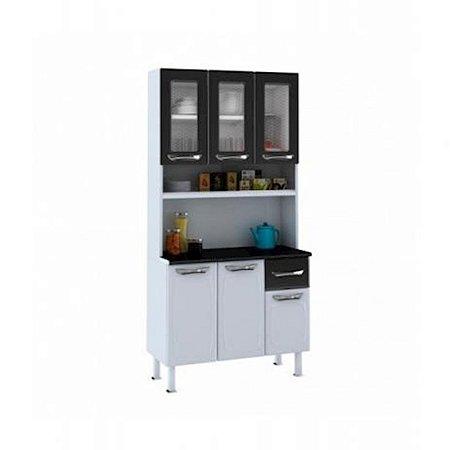 Kit de Cozinha Colormaq Leblon 6 Portas 1 Gaveta em Aço e Vidro