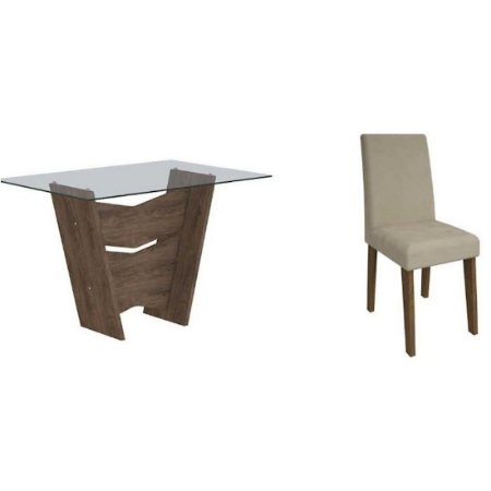 Mesa de Jantar Cimol Vitória Savana Vidro 6 Cadeiras Milena Marrocos/Caramelo [400077007]