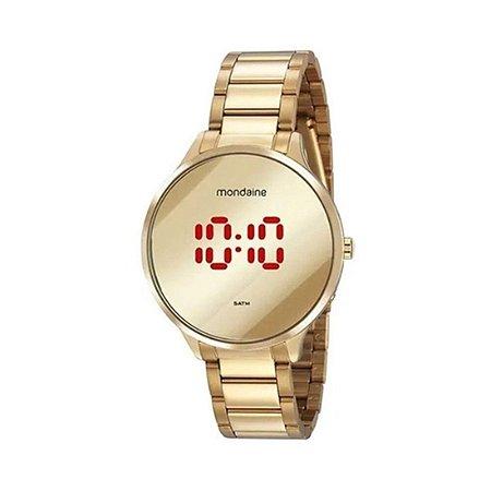 Relógio Feminino Digital Dourado Led Espelhado Mondaine