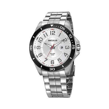 Relógio Seculus Masculino Prateado Branco Casual 20742g0svna2