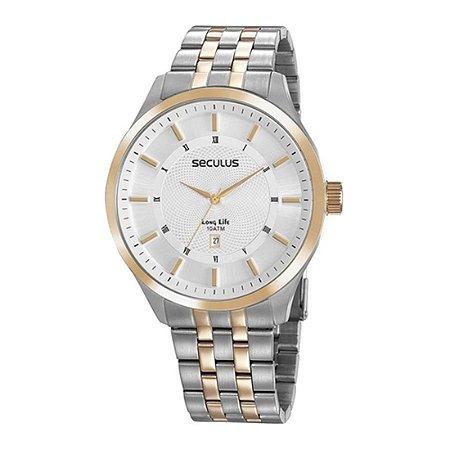 Relógio Seculus Masculino Ref: 20797gpsvba2 Big Case Bicolor