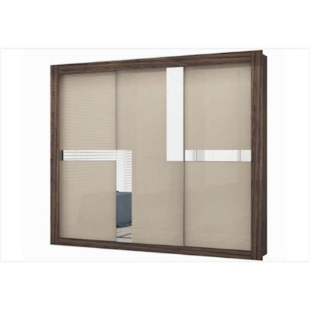 Roupeiro Colibri Platina com Detalhes Espelhado 03 Portas Deslizantes 4 Gavetas Nogueira/Seda [31362315]