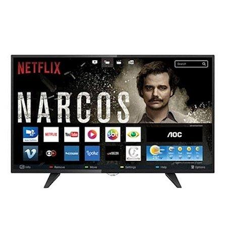 """Smart TV 32"""" LED AOC HD Conversor Digital Integrado 3HDMI 2USB Netflix Globo Play Preta [LE32S5970]"""