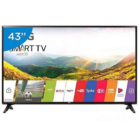 """Smart TV 43"""" LED LG webOS 3.5 FHD 2HDMI 1USB Full HD Upscaling Color Master Engine Som Virtual Surround Plus Preta [43LJ5550]"""